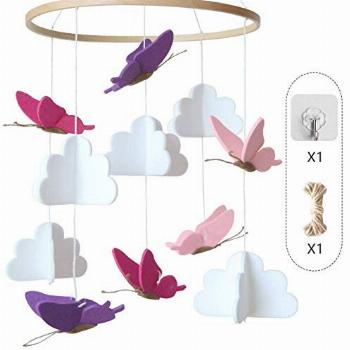 Baby Crib Mobile Clouds Butterflies Infant Crib Decoration