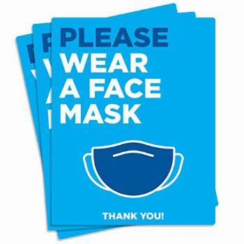 Face Mask Required Sign, (3 Pack) Social Distancing Sign,