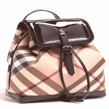 Free shipping and returns on Burberry 'House Check' Backpack (Girls) at . Black patent trim creates