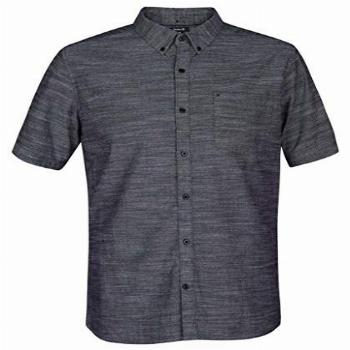 Hurley Mens One and Only Textured Short Sleeve Button Up,