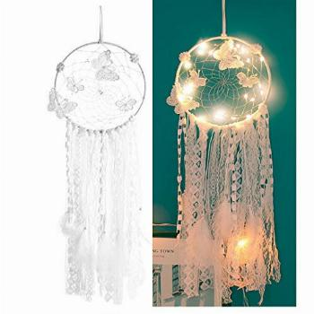 Sis LED Dream Catcher,White Dream Catcher Feather Mobile