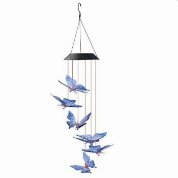 SUMERSHA Butterfly Wind Chime, Color Changing LED Solar