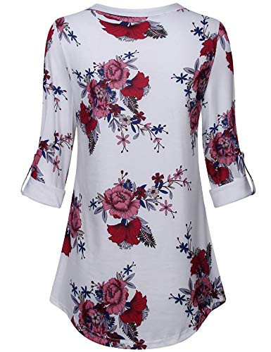 Messic Womens Long Tops to Wear with Leggings, Red Floral