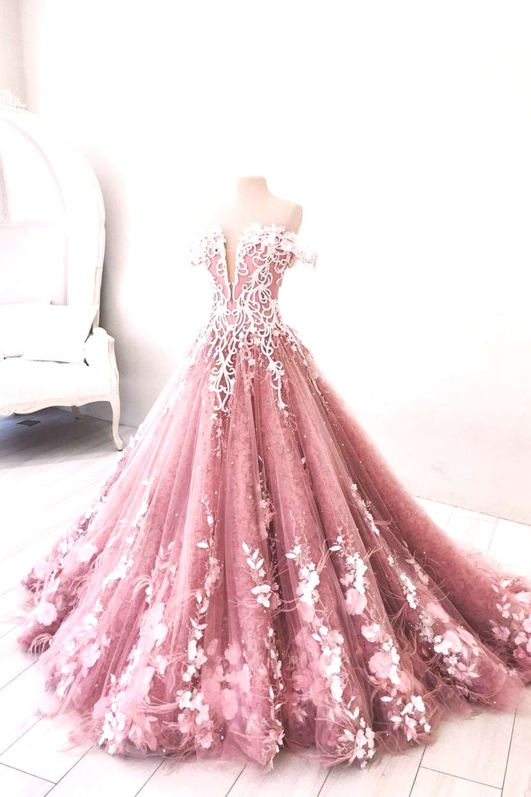 Unique pink tulle lace long prom dress, pink tulle lace evening dress, pink tulle long formal dress